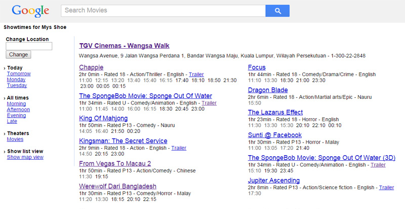 google movie showtimes poxse website marketing malaysia
